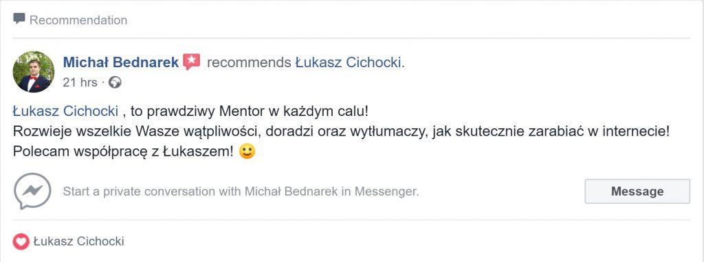 """""""Polecam współpracę z Łukaszem Cichockim"""" ~ Michał Bednarek"""