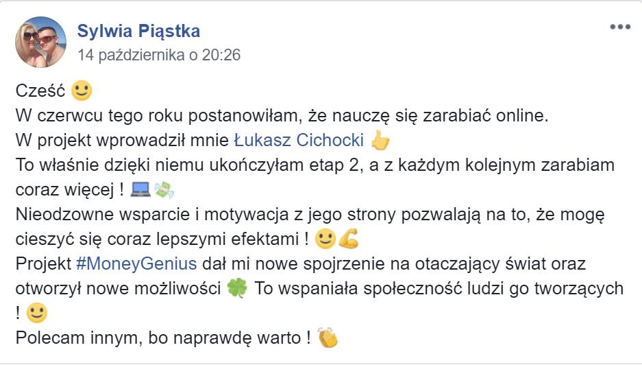 """""""Polecam współpracę z Łukaszem Cichockim"""" ~ Sylwia Piąstka"""