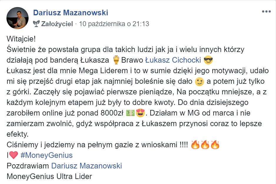 """""""Dzięki Łukaszowi Cichockiemu zarobiłem już ponad 8000 zł"""" ~Dariusz Mazanowski"""