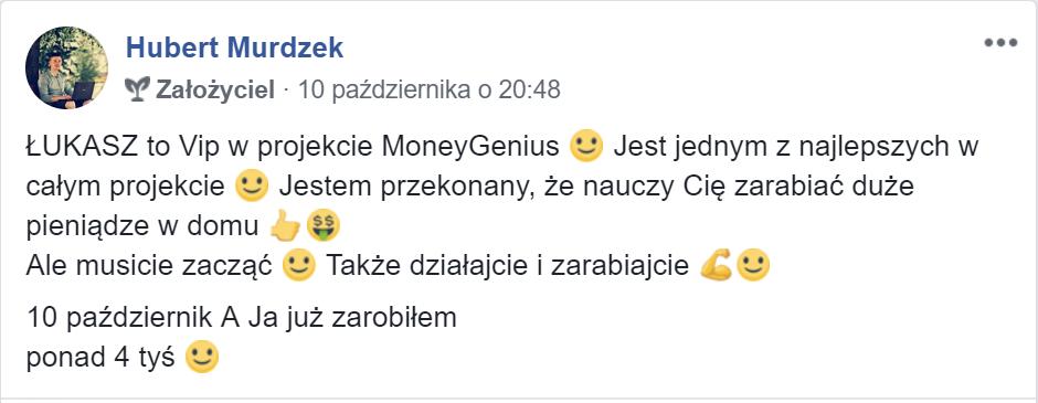 """""""Łukasz Cichocki to VIP w projekcie MoneyGenius"""" ~ Hubert Murdzek"""