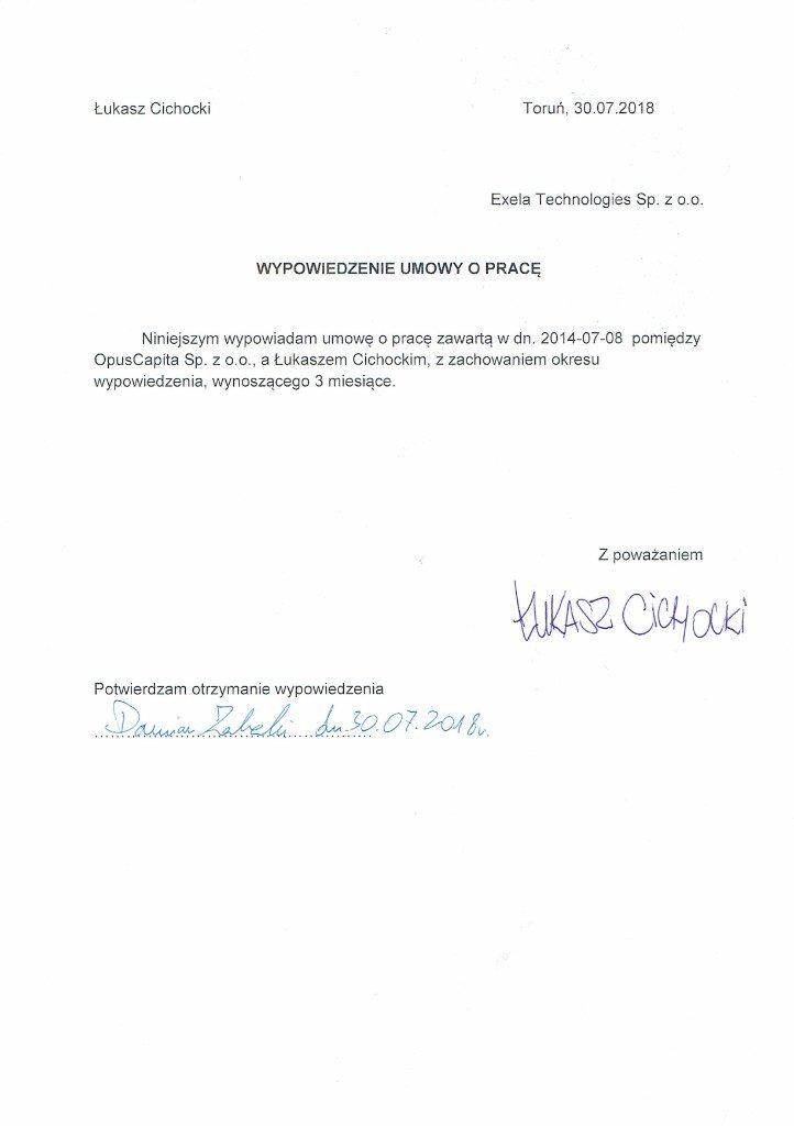 Łukasz Cichocki - wypowiedzenie umowy o pracę