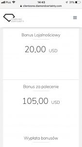 loyality bonus, referral bonus w Diamond Certainty