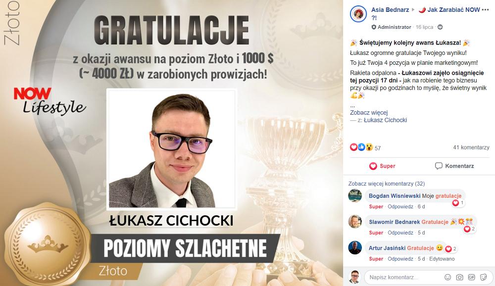 Łukasz Cichocki zdobywa czwartą pozycję w planie marketingowym NOW w 17 dni od startu!