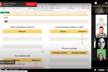 Łukasz Cichocki prowadzący szkolenie ze śledzenia codziennej efektywności dla Spełeczności Ekspert Afiliacji w ramach bloku biznes i rozwój